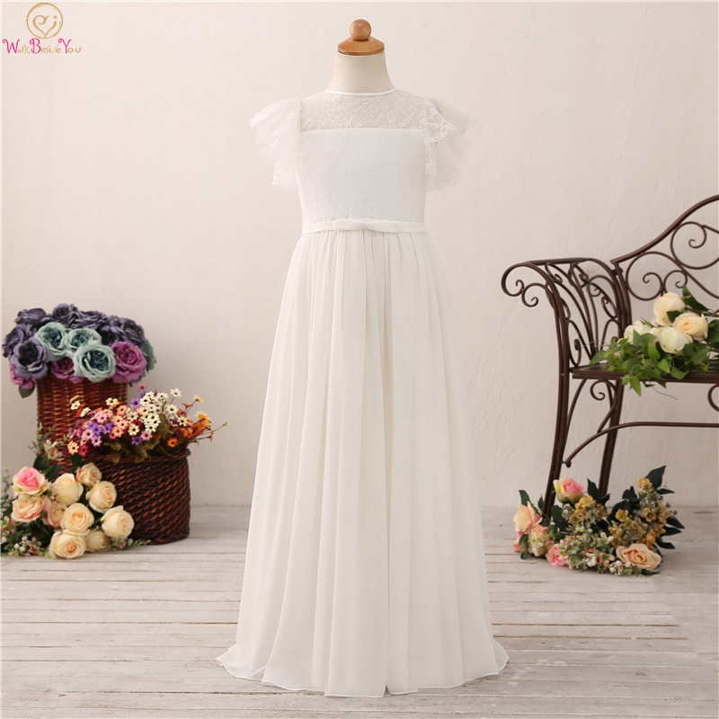 Lovely Lace Flower Girls A Line Dresses For Weddings Short Sleeve Sheer Chiffon Kids First vestido Communion Pageant Gowns 2019 in Flower Girl Dresses from Weddings Events