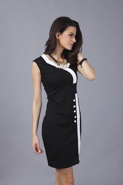c0f81ee758df2 Abnehmen Büro Business kleid Damen schwarz weiß rot Unregelmäßige Neck  Colorblock Gegensatz Dünnes Partei-verein