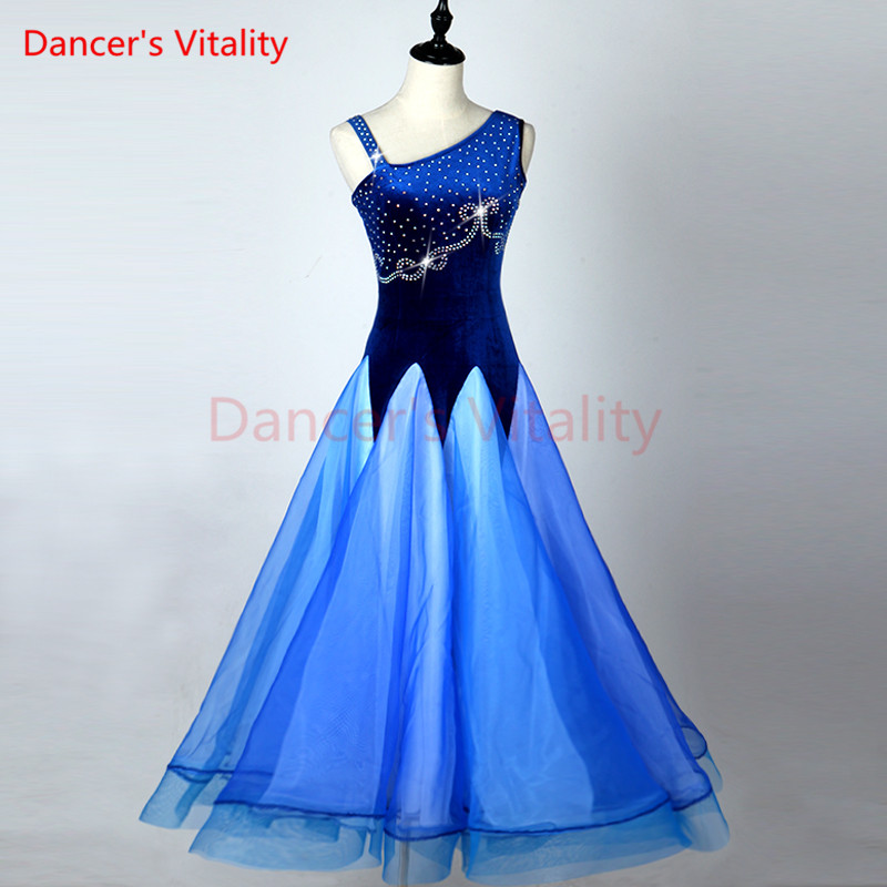 Ballroom Dance Dress Girls Latin Dress Stone Clothing Salsa Rumba Samba Cha Vestido Belly Dance Diamonds Print Skirt Costume
