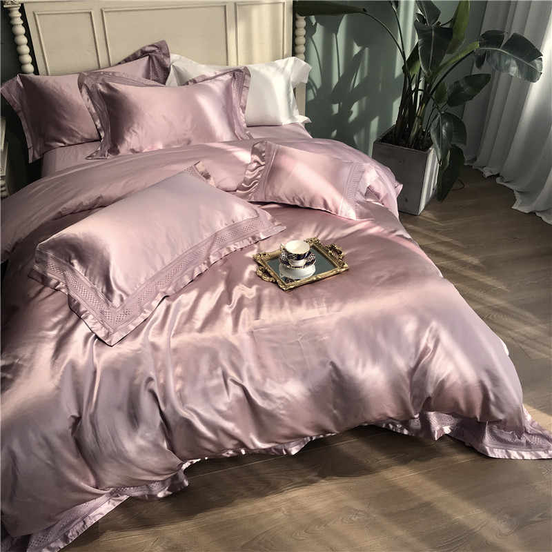 Luxury Solid color smooth silky Bedding Set Duvet Cover Sheet Pillowcase King Queen Size White Gray Blue Silk  cotton Bed Linen