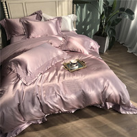 11e0dc0eff Luxury Solid Color Silk Cotton Bedding Set Duvet Cover Sheet Pillowcase King  Queen Size White Gray