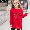 LouisDog Girls Embroidered Fleece Sweatshirt Kids Loose Fit Pullover Sweatshirts 2016 New Svitshot Teens Autumn Winter Clothes