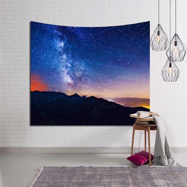 LYN & GY شمعة جميلة ليلة السماء قماش مزخرف جداري ديكورات المنزل الجدار الشنق الغابات المرصعة بالنجوم المفروشات لغرفة المعيشة غرفة نوم