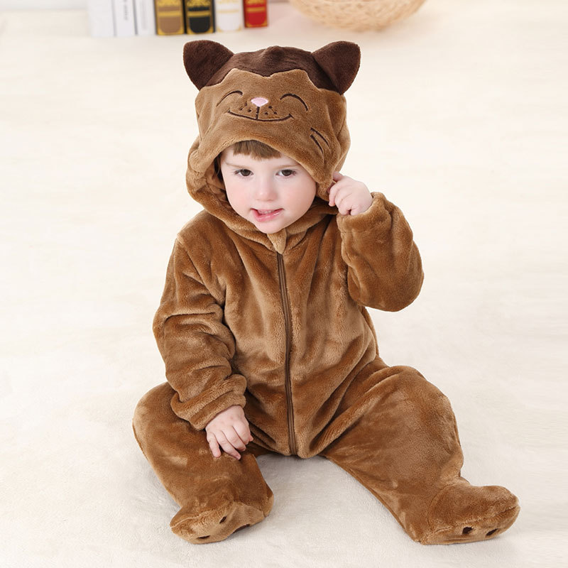 Baby Rompers Pajamas cute animal Newborn Baby Clothes Cartoon Infant Fleece Long Sleeve Jumpsuits Boy Girl Warm Winter Clothes new newborn baby girl rompers pajamas long sleeve cotton romper clothes baby jumpsuit for babies animal infant boy girl clothing