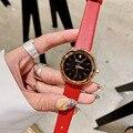 Женские часы с ремешком из натуральной кожи ярких цветов  блестящие наручные часы с кристаллами  водонепроницаемые кварцевые часы для деву...