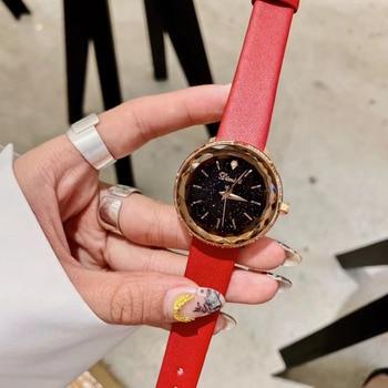 Colores de caramelo dulce mujeres cuero Real Correa relojes brillantes cristales reloj de pulsera impermeable chicas estudiantes cuarzo reloj facetado