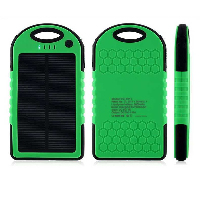the latest d68ac b6d5d Universal solar power bank 5000mah Portable Waterproof Solar charger  Dual-USB Solar battery Charger for iphone samsung all phone
