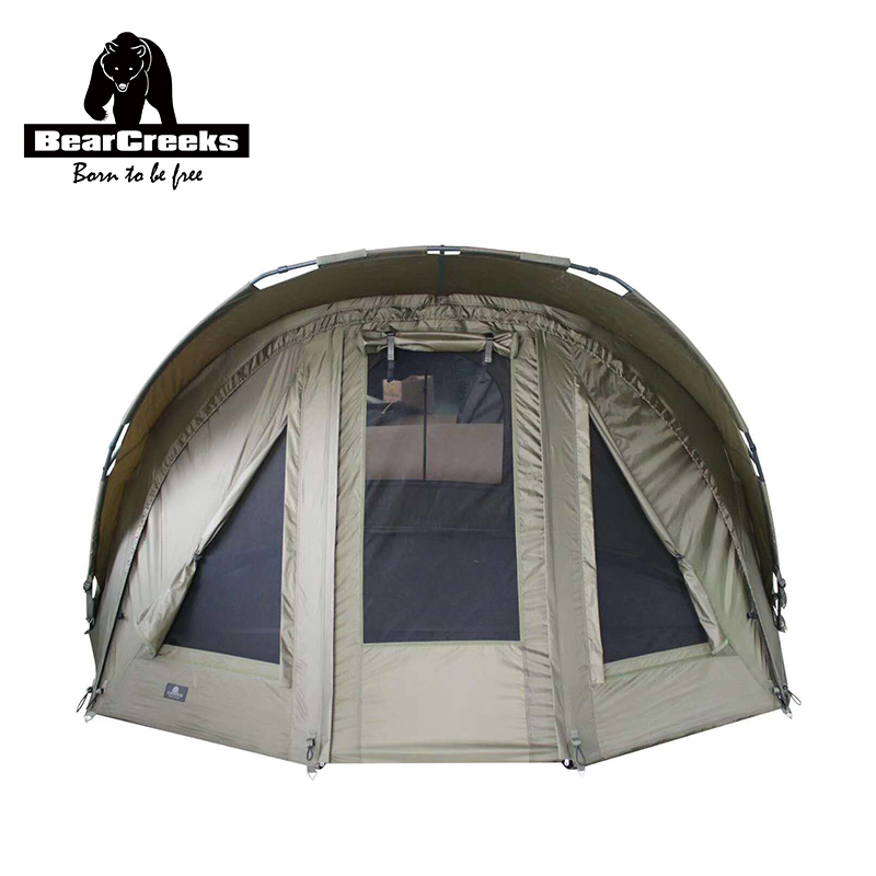 Bearcreeks Olive Green Quick Erect Waterproof Carp Fishing Bivvy Tent with overwrap