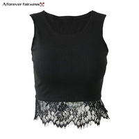 A Forever 2018 Summer News Women Crop Tops Hem Lace Patchwork Vest Tanks Sleeveless Ribs Black