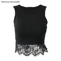 A Forever 2018 Summer News Women Crop Tops Hem Lace Patchwork Vest Tanks Sleeveless Ribs Black