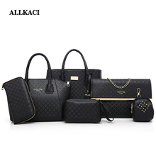 New 6 Pcs/ Set Women Handbags PU Leather Women casual Totes shoulder Bag +Messenger Bag+Purse +clutch Composite Bag-4950 стоимость