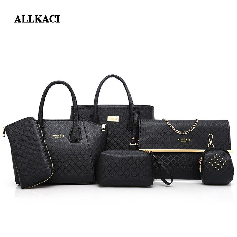 Nouveau 6 pièces/ensemble femmes sacs à main en cuir PU femmes fourre-tout décontractés sac à bandoulière + sac Messenger + sac à main + pochette Composite-4950