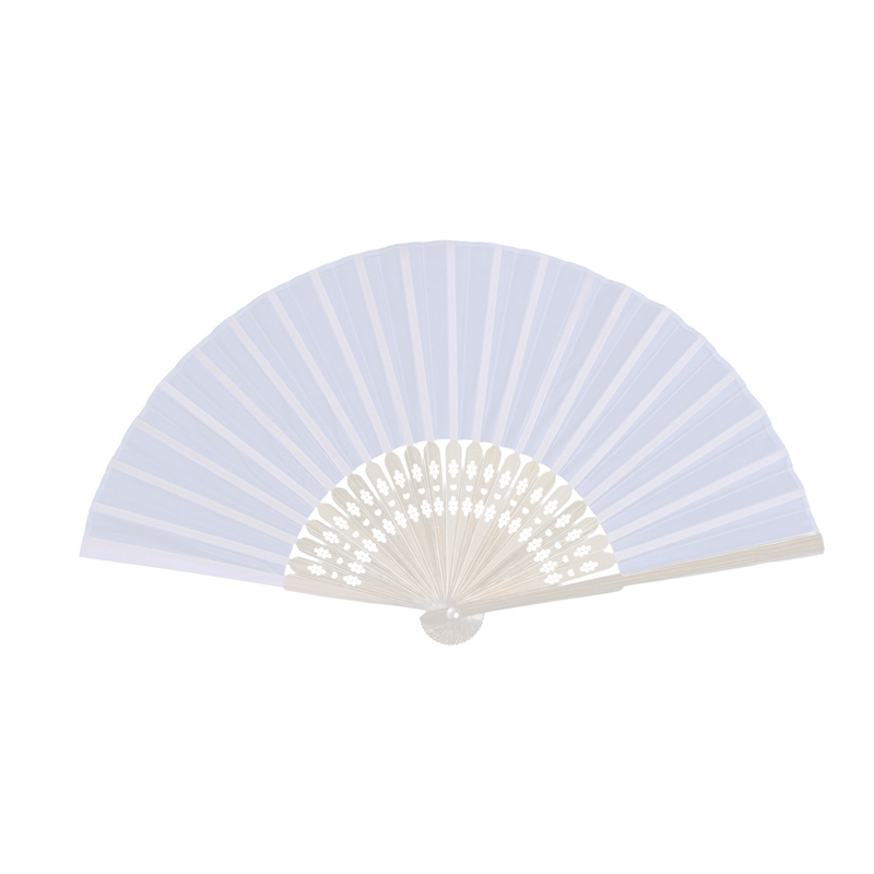 24 Pcs/lot White Folding Elegant Silk Hand Fan With Gift Bag Wedding & Party 21cm