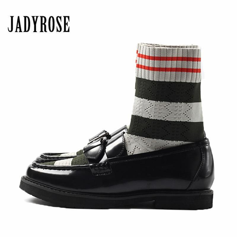 Jady Rose Belt Buckle Patent Leather Women Ankle Boots Flat Shoes Woman Slim Fit Knit Sock Booties Platform Botas Militares