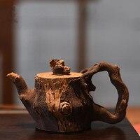 China tea set old purple clay pot authentic cup teapot gift custom set Manual Frog pottery bamboo section stump zisha teapot