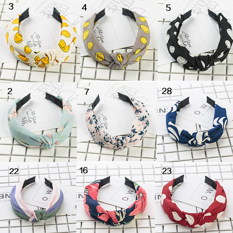 Sale Stripe 2019 Knot Fabric Headbands For Women Wide Floral Print Girls Hairband Female Fashion Hair Accessories