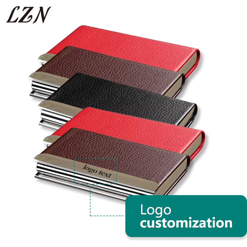 LZN Free Personalized Name/Text 50PCS A Lot Unisex Card Holder Newest Leather Business Credit Card Name ID Card Holder Cases