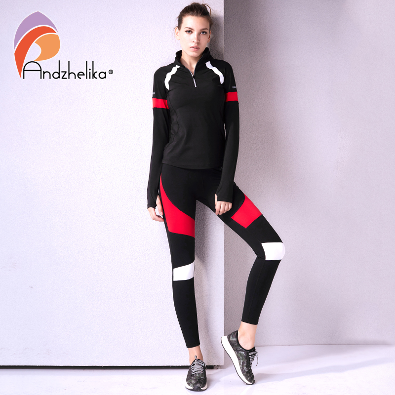 Andzhelika Women s Sport Suit Fitness 2 Piece Yoga Sets Jogging Breathable Suits Long Sleeve Yoga