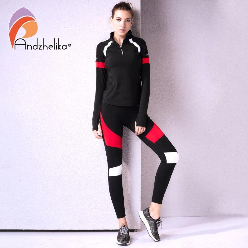 Andzhelika femmes Sport costume Fitness 2 pièces Yoga ensembles Jogging respirant costumes à manches longues Yoga chemises Top + Slim course pantalon
