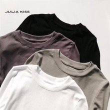 Women Crew Neck Ribbed Long Sleeve Slim Fit T-shirt(China)