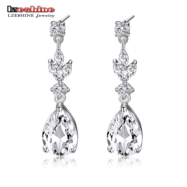 Lzeshine Top Quality Cz Diomand Drop Earrings Cubic Zirconia Water Shape Fashion Jewelry For