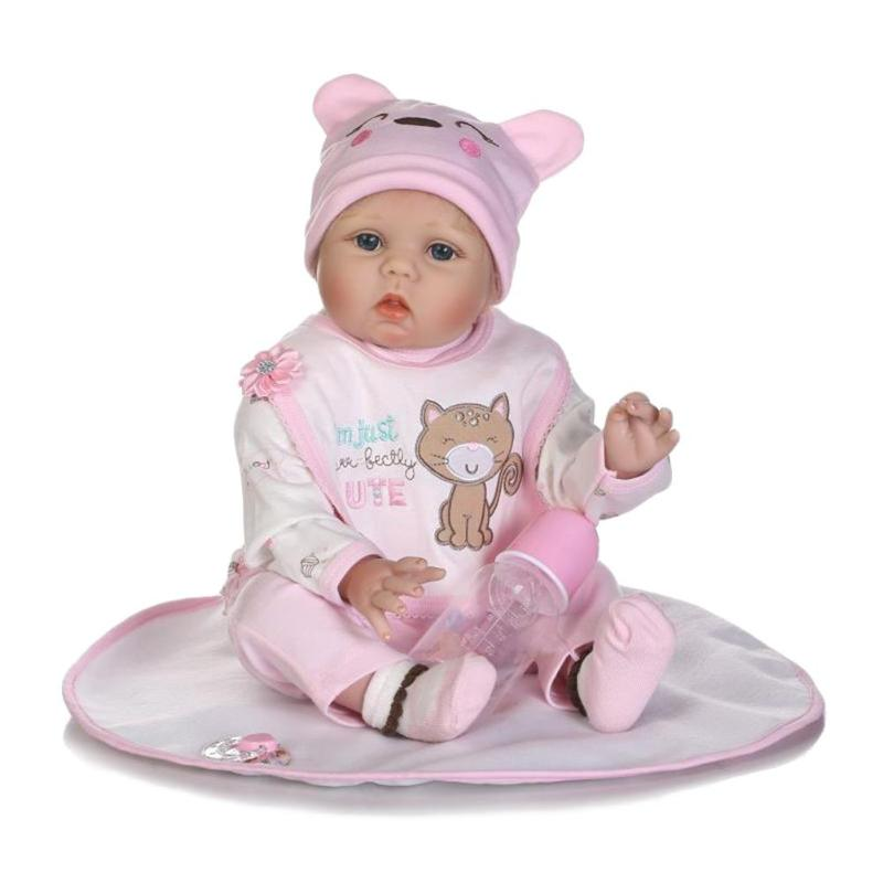 55cm Simulation Reborn Soft Silicone Baby Doll Kids Sleeping Playmate Accompany Toys Birthday High Quality Gifts npkcollection55cm soft silicone newborn baby doll with eyes closed simulation to accompany sleep toys silicone reborn baby doll