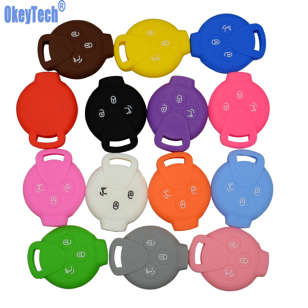 OkeyTech 3 Buttons Silicone Car Key Cover Case Holder For Mercedes Benz Smart City Coupe Roadster Fortwo Forfour Free Shipping