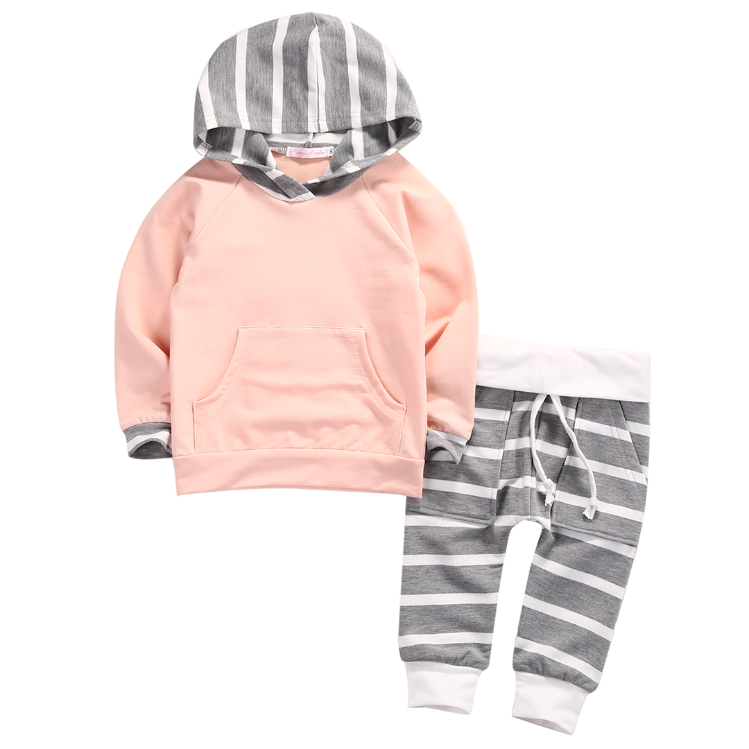 Hot 0-4Y Toddler Baby Boy Girl Clothes Long Sleeve Hooded T-shirt Tops and Striped Pant 2PCS Outfit Kids Clothing Set Tracksuit toddler kids baby girls clothing cotton t shirt tops short sleeve pants 2pcs outfit clothes set girl tracksuit