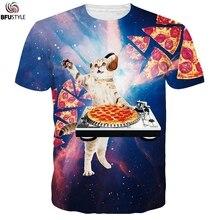 Футболка с рисунком пиццы, космоса, галактики, диджея, кошки, для мужчин, Camisetas Divertidas, летние топы с круглым вырезом, футболки, повседневные брендовые футболки, Прямая поставка