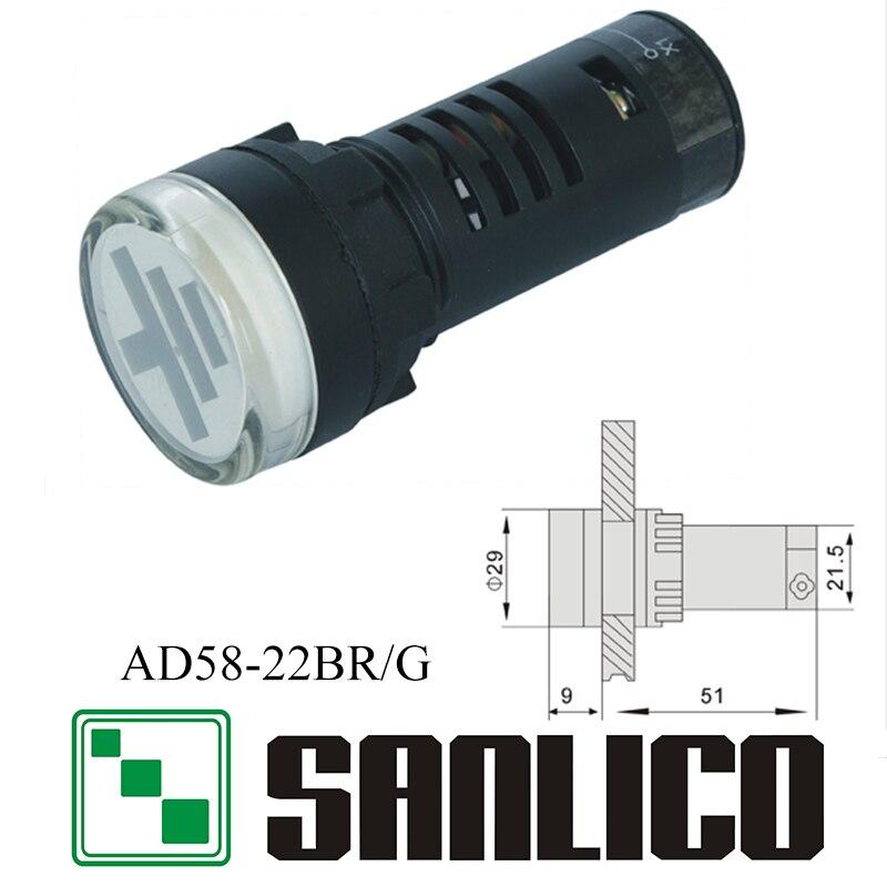 AD58 (AD16 AD22 AD11 AD17) -22BR/g двойной цвет Пилот Индикатор сигнала легкими круговыми LED 22 мм соединения положение ...