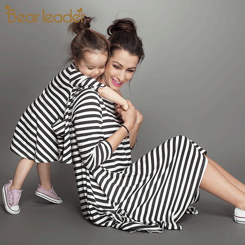 Bear Leader 2019 New Spring&Autumn Style Family Matching Outfits Mother And Daughter Fall Full Black Striped Dress Free Shipping