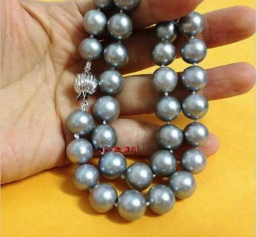 Superbe collier de perles rondes AAA + 11-12mm en argent naturel deau douce gris 18 argent 925Superbe collier de perles rondes AAA + 11-12mm en argent naturel deau douce gris 18 argent 925