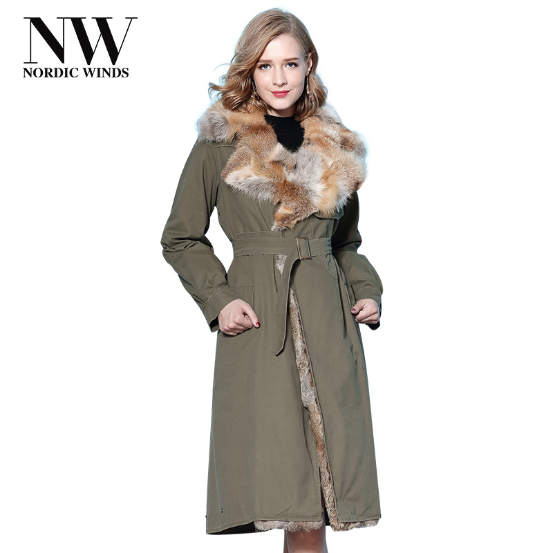 Nordic Winds Long Thick Parka Winter Coat Women Luxury Real Fox Fur and Rabbit Fur Collar Warm Slim Parka Fashionable Jackets 2017 winter new clothes to overcome the coat of women in the long reed rabbit hair fur fur coat fox raccoon fur collar