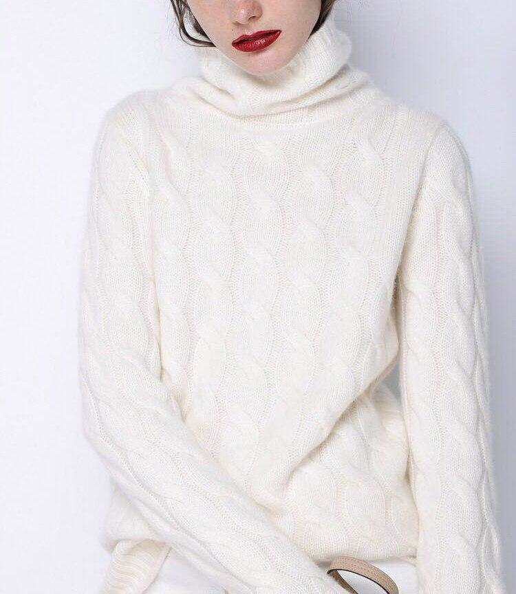 2018 осень-зима Для женщин Высокий воротник кашемировый свитер Толстая Твист джемпер сплошной цвет вязать свободный свитер