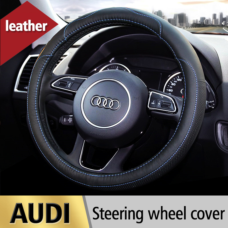 Leather Car Steering Wheel Cover For Audi A1 A3 A4 A4L A5 A6 A6L A7 A8 Q3 Q5 Q7 A4 B6 B7 B8 A6 C5 C6 S3 S4 S5 Auto Accessories 1x for audi a1 a3 a4 c5 c6 c7 b5 b6 b7 b8 a5 a6 a7 a8 q3 q5 q7 s3 s4 s5 s6 s7 interior car accessories trunk box stowing tidying