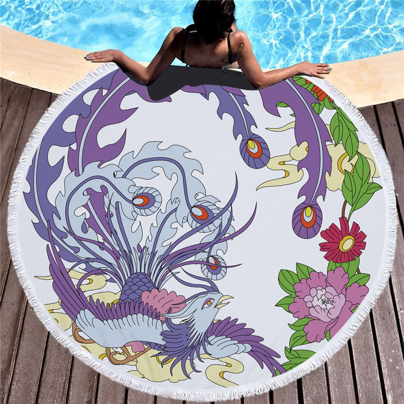 Beautiful Phoenix Print Round Beach Towel Microfiber Tassel Bath Picnic Wall Tapestry Blanket Yoga Mat Home Decor