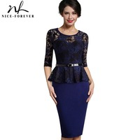 Nice Forever Vintage Ladylike Sexy Lace Top 3 4 Sleeve O Neck Peplum Tunic Bodycon Women