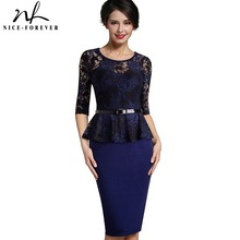 Nice-forever Vintage Ladylike Sexy Lace top 3/4 Sleeve O-Neck Peplum Tunic Bodycon Women Wear to Work Office Pencil Dress B360