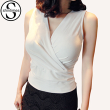 shintimes Tank Top Women Vest Summer 2018 White Crop Tops Cropped Sexy Deep V-Neck Top Cotton Ruched Shirt Tees Womens Clothing
