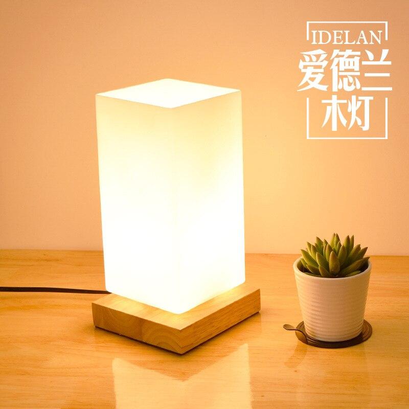 TUDA Woodwork New Small Desk Lamp Bedroom Study Living Room Table Lamp  Elegant Adornment Square Ground