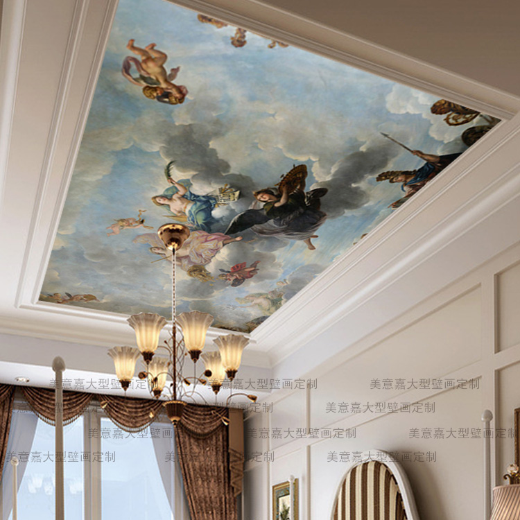 Mural Mammoth mural sofa roof background 3D wallpaper fashion ceiling oil painting
