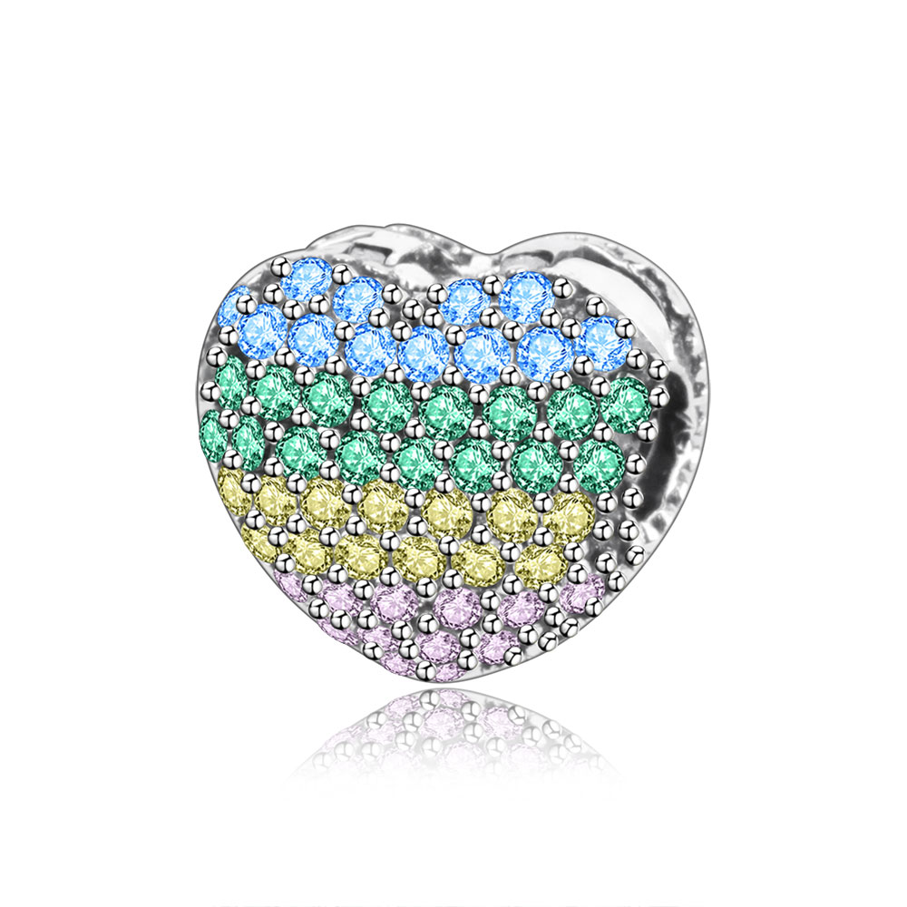2018 Spring Collection 925 Sterling Silver Mix CZ Heart Clip Charms Bead Fits Original Pandora Charm Bracelet DIY Women Jewelry