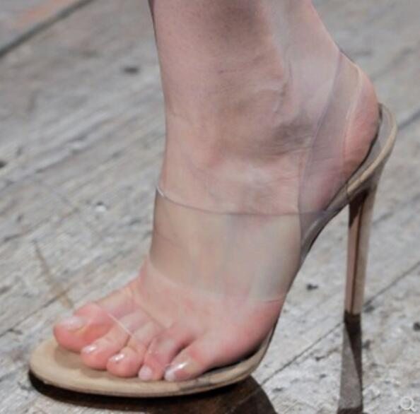 PVC Summer Cross Straps Gladiator Sandals High Heeled 2018 Clear Transparent Fashion Design Prom Party Sandals Shoes Mujers