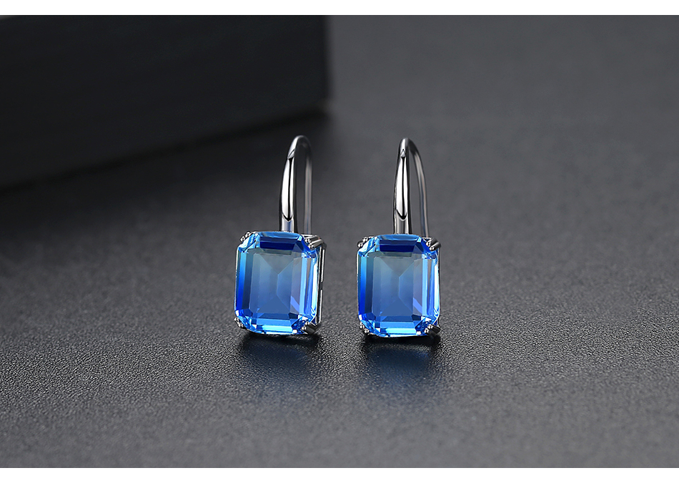 LUOTEEMI New Exquisite Drop Earrings for Women Party Dating Luxury Square-shaped Color Treasure Two Colors Female Christmas Gift 7
