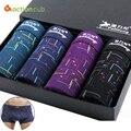 4 unids/lote nuevo patrón clásico hombres boxer cotton boxers underwear calzoncillos atractivos hombres marca homme tirón en masculino bragas