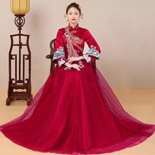 Chinese Style Embroidery Phoenix gown Qipao Oriental Brides wedding dress Claret Long Sleeve Wedding Cheongsam Evening Dresses