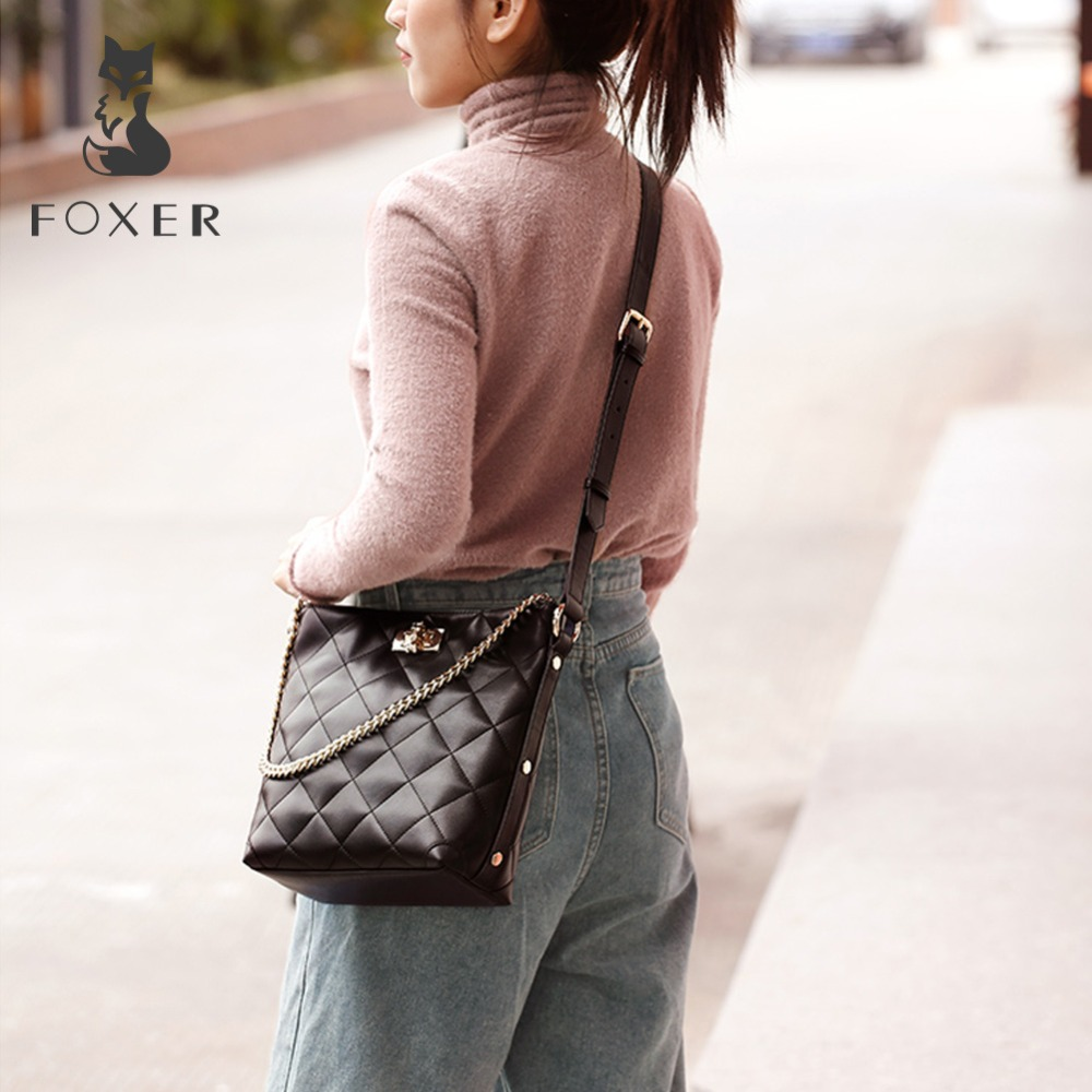 FOXER Brand Women Crossbody Bag Large Capacity Shoulder Bags Lady Bucket Bag Fashion Chain Lattice Bag with strap for Girls 1