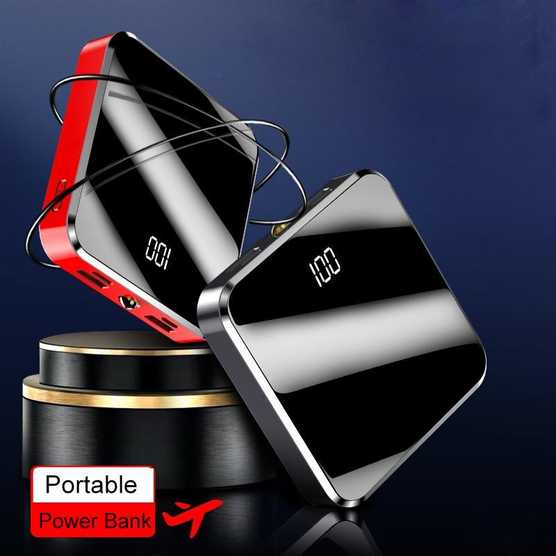20000mAh Portable Charger Power Bank 20000 mAh Mini PowerBank Mirror Screen External Battery Pack For Smart Mobile Phone 5