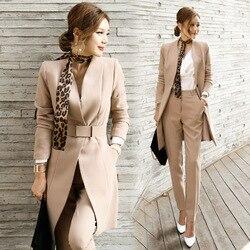 Set vrouwelijke herfst en winter pak twee-stuk mode slanke effen kleur lange jasje + slanke broek 2019 nieuwe vrouwen kleding