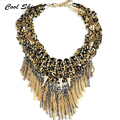 New Fashion Choker Necklace Women Multilayer Handmade Beads Cluster Gold Rivet Statement Necklaces & Pendants Vintage Jewelry